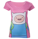 ADVENTURE TIME Finn with Dots Women's T-Shirt, Small, Pink