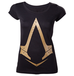 ASSASSIN'S CREED Gold Metallic Brotherhood Logo Women's T-Shirt, Medium, Black