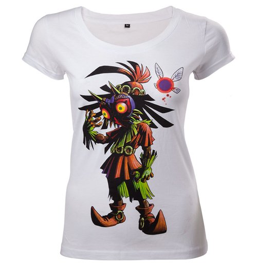 NINTENDO Legend of Zelda Majora's Mask Women's Skinny T-Shirt, Extra Large, White