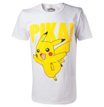 POKEMON Pikachu Pika! Raised Print Men's T-Shirt, Large, White