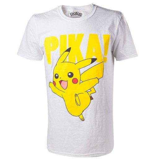 Pokemon pikachu pika raised print men 39 s t shirt extra for Extra tall white t shirts