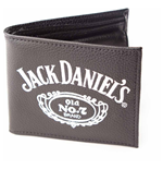 JACK DANIEL'S Old No.7 Brand Large Logo Unisex Bi-Fold Faux Leather Wallet, One Size, Black