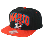 NINTENDO Super Mario Bros. Embroidered Mario Logo & Character with Luminous Colours Unisex Snapback Baseball Cap, One Size, Black/Red