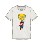 NINTENDO Super Mario Bros. Mario Breaking Block Men's T-Shirt, Small, White