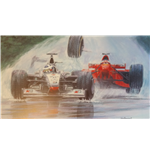 "F1 Print ""Whoops"" - David Coulthard and Michael Schumacher"