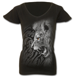 Tribal Lion - Cap Sleeve V NeckTop Black