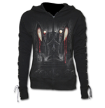 Vamp Fangs - Laceup Full Zip Glitter Hoody Black