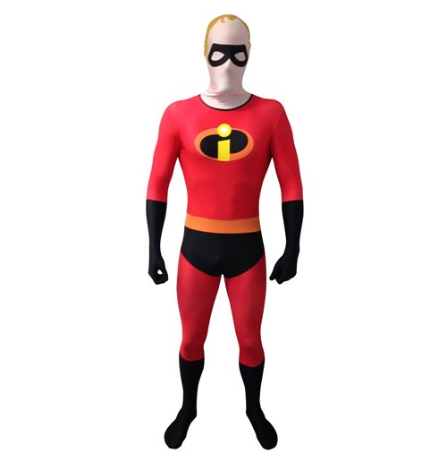 DISNEY Pixar Mr Incredible Adult Unisex Cosplay Costume Morphsuit, Large, Multi-Colour