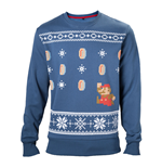 NINTENDO Super Mario Bros. Men's Running Xmas Mario Christmas Jumper, Small, Blue