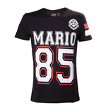 NINTENDO Super Mario Bros. Adult Male Mario 85 Streetwear American Football Jersey T-Shirt, Small, Black