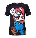 NINTENDO Super Mario Bros. Adult Male Let's Go Mario T-Shirt, Large, Black