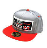 NINTENDO Original Embroided NES Controller Snapback Baseball Cap, One Size, Silver/Red