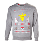 POKEMON Men's Dancing Pikachu Christmas Jumper, Extra Large, Grey