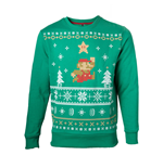 NINTENDO Super Mario Bros. Men's Running Xmas Mario Christmas Jumper, Medium, Green (SW238002NTN-M)