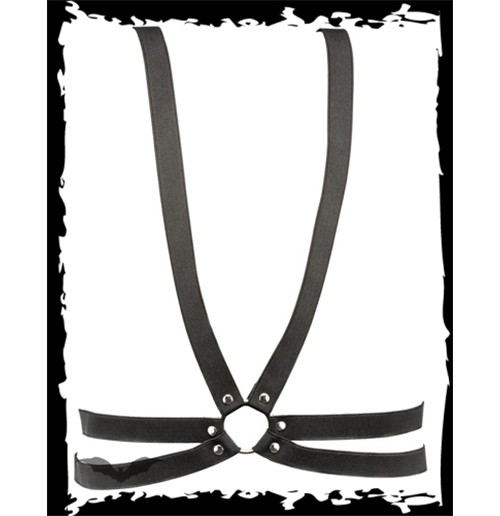 Leather harness with a ring in the front