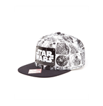 STAR WARS Comic Book Strip with Metal Plate Logo Snapback Baseball Cap, One Size, White/Black
