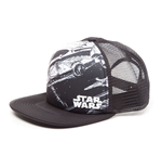 STAR WARS Millennium Falcon Trucker Snapback Baseball Cap, One Size, White/Black