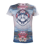 NINTENDO Super Mario Bros. Adult Male Tropical Mario All-Over Sublimation T-Shirt, Large, Multi-Colour