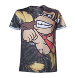 NINTENDO Super Mario Bros. Adult Male Donkey Kong All-Over Sublimation T-Shirt, Small, Multi-Colour