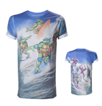 TEENAGE MUTANT NINJA TURTLES (TMNT) Adult Male Surfing Turtles All-Over Sublimation T-Shirt, Large, Multi-Colour