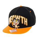 POKEMON Unisex Meowth Snapback Baseball Cap, One Size, Black/Orange