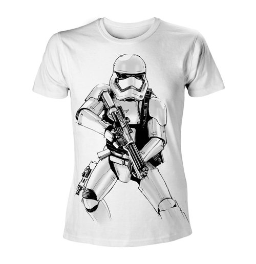 STAR WARS VII The Force Awakens Adult Male Armed Stormtrooper Sketch T-Shirt, Extra Extra Large, White
