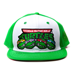 TEENAGE MUTANT NINJA TURTLES (TMNT) Unisex Character Faces & Logo Snapback Baseball Cap, One Size, Green/White