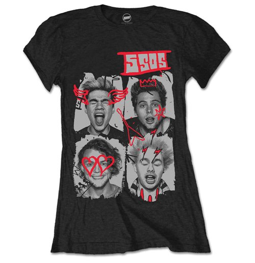 5 Seconds of Summer Women's Tee: Doodle Faces