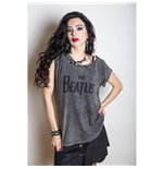 The Beatles Women's Acid Wash Tee: Drop T Logo