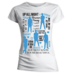 One Direction Women's Skinny Fit Tee: Silhouette Lyrics Blue on White