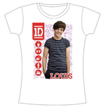 One Direction Women's Skinny Fit Tee: 1D Louis Symbol Field