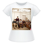 One Direction Women's Skinny Fit Tee: Band Lounge Colour