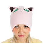 POKEMON Unisex Jigglypuff with Ears Cuffless Beanie, One Size, Pink