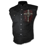 Death Bones - Sleeveless Stone Washed Worker Black