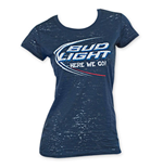 BUD LIGHT Women's Navy Blue Burnout Tee Shirt