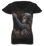 Monkey Business - Cap Sleeve V NeckTop Black