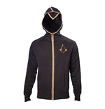 ASSASSIN'S CREED Syndicate Adult Male Bronze Brotherhood Crest Full Length Zipper Hoodie, Small, Black/Bronze