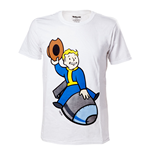 FALLOUT 4 Adult Male Vault Boy Bomber T-Shirt, Large, White