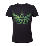 NINTENDO Legend of Zelda Adult Male Distress Green Royal Crest T-Shirt, Small, Black