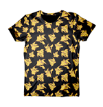 POKEMON Adult Male Pikachu All-Over Print T-Shirt, Small, Black