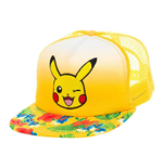 POKEMON Unisex Pikachu Winking Face with Floral Pattern Trucker Snapback Baseball Cap, One Size, Yellow