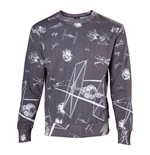 STAR WARS Adult Male Imperial Fleet TIE Fighters All-Over Print Sublimation Sweater, Large, Dark Grey