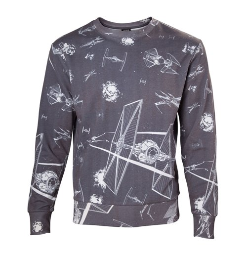 STAR WARS Adult Male Imperial Fleet TIE Fighters All-Over Print Sublimation Sweater, Extra Extra Large, Dark Grey
