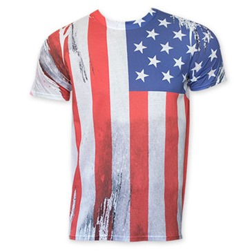 American flag vertical sublimation print tee shirt for for T shirt printing usa