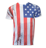 American Flag Vertical Sublimation Print Tee Shirt