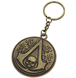 Assassins Creed Keychain - Round Metal Crest & Skull