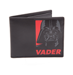STAR WARS Unisex Darth Vader Red Logo Bi-Fold Wallet, One Size, Black