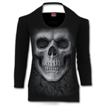 Solemn Skull - Scoop Halter-Neck Long Sleeve Top