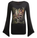 Woodland Fairy - V Neck Goth Sleeve Top Black