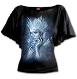 Ice Queen - Boat Neck Bat Sleeve Top Black